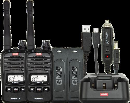 GME 2 Watt UHF CB Handheld Radio - Twin Pack
