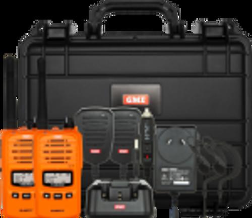 GME 5/1 Watt UHF CB Handheld Radio including Accessories - Twin Pack - Blaze Orange