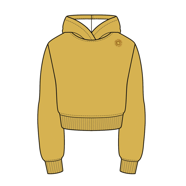 Ochre coloured cropped warm up hoodie, made in the UK, sizing 2xs-6xl