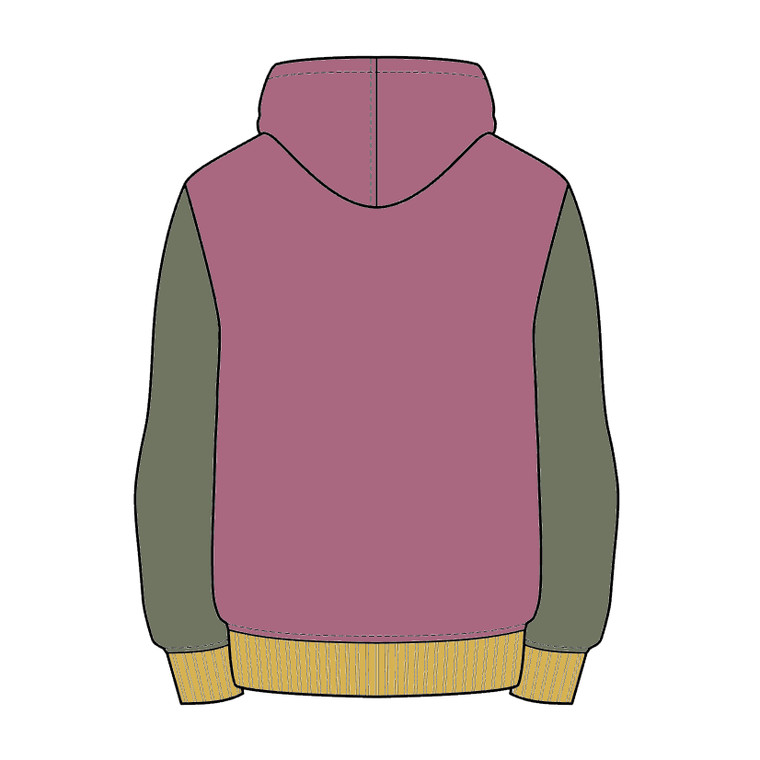 colour block warm up hoodie