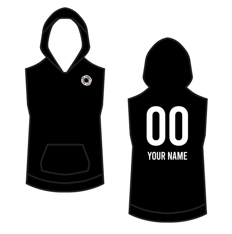 Custom warm up sleeveless hoodie in sizing 2xs-6xl, made in the UK