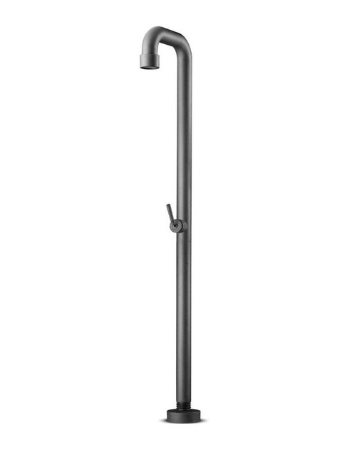 JEE-O soho 01 freestanding outdoor shower with pressure balance valve in hammercoat black stainless steel