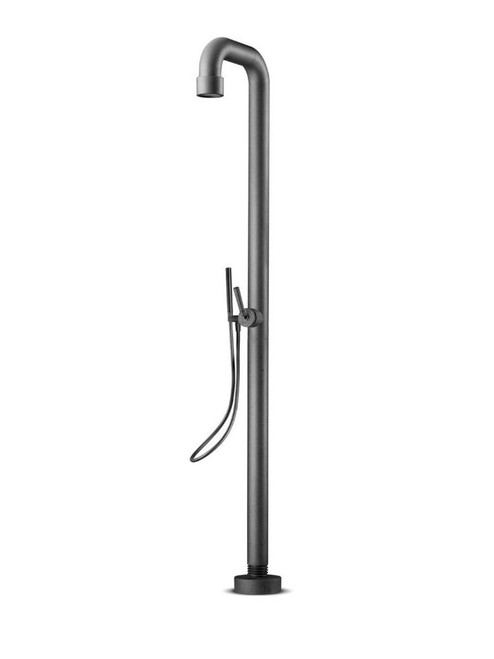 JEE-O soho 02 freestanding outdoor shower with two-way pressure balance valve and hand shower in hammercoat black stainless steel