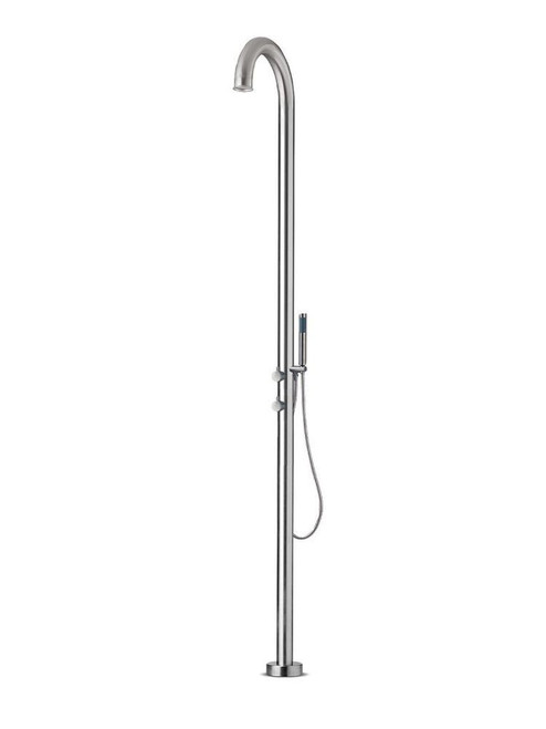 JEE-O original 02TH freestanding outdoor shower kit with thermostatic mixer, diverter, and hand shower in brushed stainless steel
