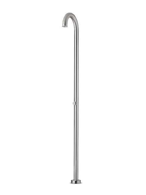 JEE-O original push freestanding outdoor shower kit with self-closing push valve (cold water only) in brushed stainless steel