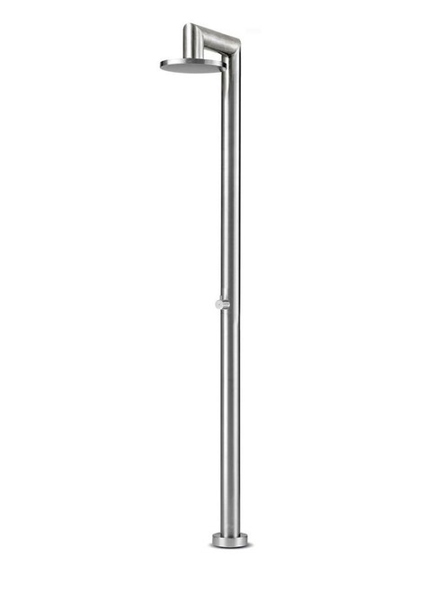 JEE-O fatline 04 freestanding outdoor shower kit with pressure balance valve and rain shower head in brushed stainless steel