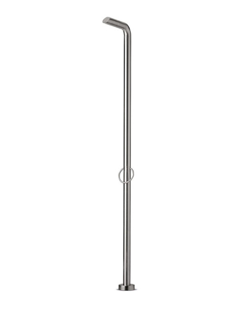 JEE-O pure 01 freestanding outdoor shower kit with single lever mixer in brushed stainless steel