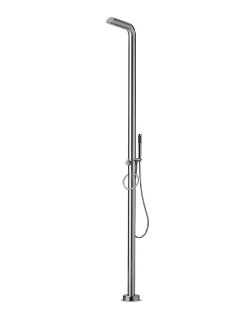 JEE-O pure 02 freestanding outdoor shower kit with single lever mixer, diverter, and hand shower in brushed stainless steel