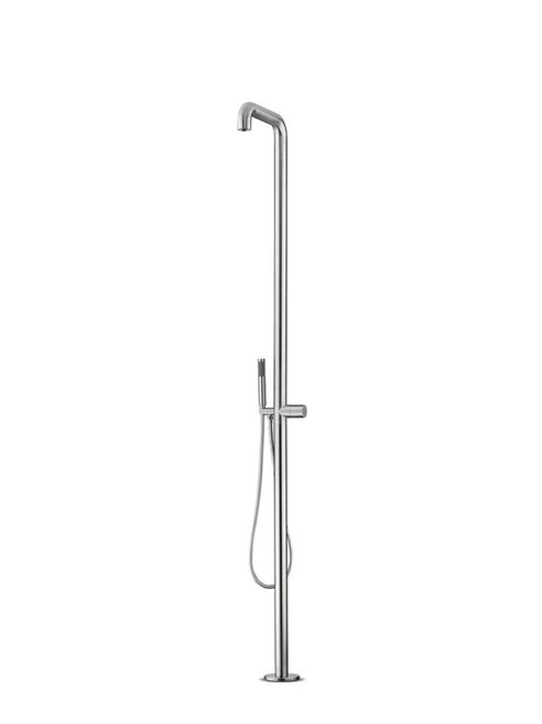 JEE-O flow 02 freestanding outdoor shower with two-way pressure balance valve and hand shower in brushed stainless steel