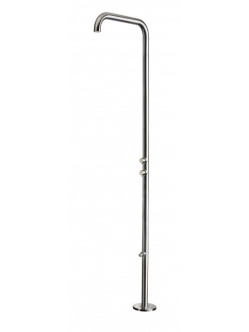 AMA Aphrodite 4600 freestanding 316 marine grade stainless steel outdoor shower with pressure balance valve, diverter, and foot wash
