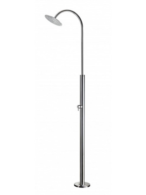 AMA Giove 3100 freestanding 316 marine grade stainless steel outdoor shower with single lever mixing valve and rain shower head