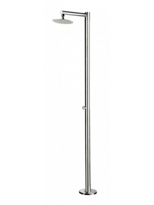 AMA Venere 1270 freestanding 316 marine grade stainless steel outdoor shower with self-closing push valve (cold water only) and rain shower head