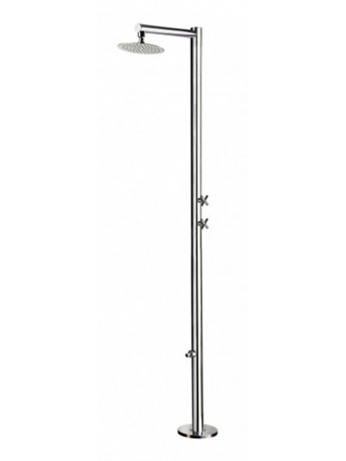 AMA Venere 1150 freestanding 316 marine grade stainless steel outdoor shower with 2 volume control valves (cold water only), foot wash, and rain shower head