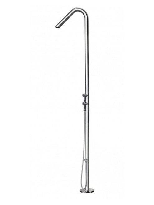 AMA Atlas 3950 freestanding 316 marine grade stainless steel outdoor shower with 2 pressure balance valves and hand shower