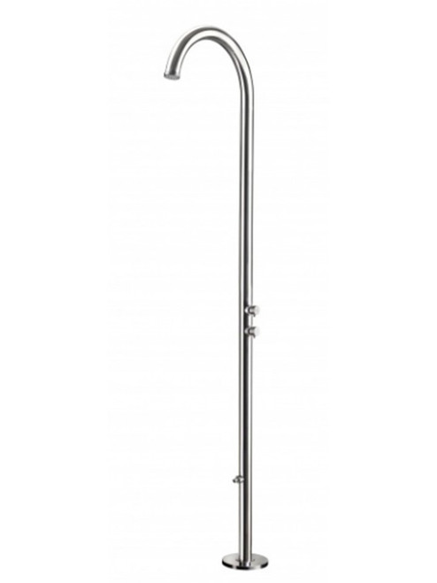 AMA Cometa 4600 freestanding 316 marine grade stainless steel outdoor shower with 2 pressure balance valves and foot wash