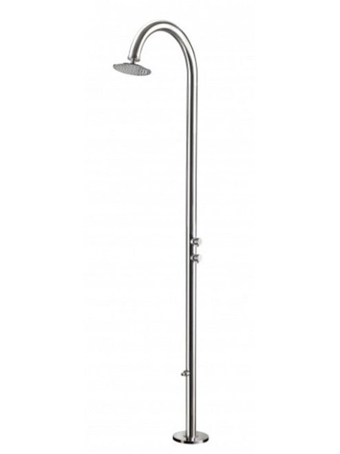 AMA Cometa 4650 freestanding 316 marine grade stainless steel outdoor shower with 2 pressure balance valves, foot wash, and rain shower head