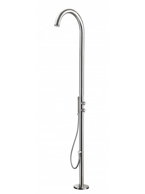 AMA Cometa 4700 freestanding 316 marine grade stainless steel outdoor shower with 2 pressure balance valves and hand shower