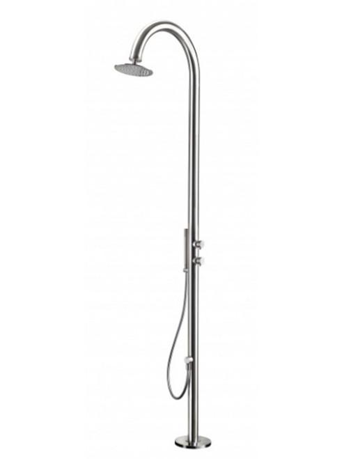 AMA Cometa 4750 freestanding 316 marine grade stainless steel outdoor shower with 2 pressure balance valves, hand shower, and rain shower head