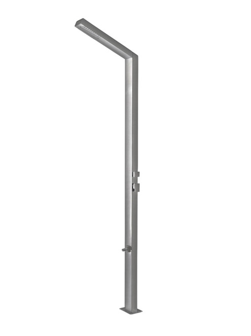 AMA Saturno 5000 freestanding 316 marine grade stainless steel outdoor shower with single lever mixing valve, diverter, and foot wash