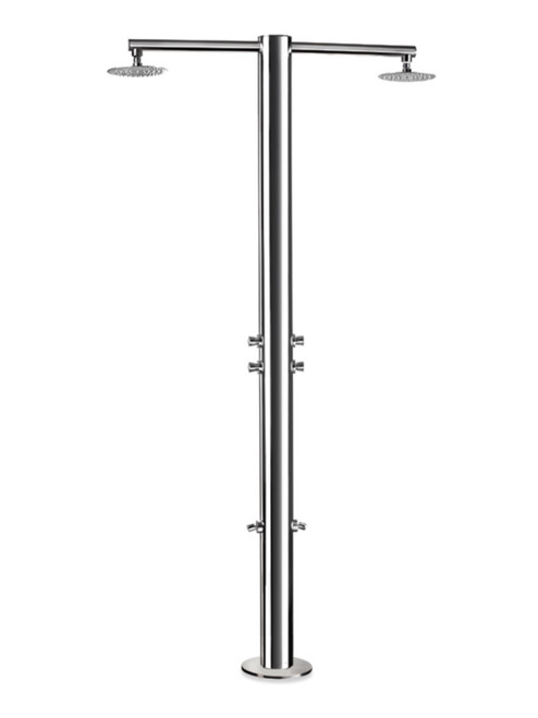 AMA Nettuno 1450 freestanding 316 marine grade stainless steel outdoor shower with 4 self-closing push valves (cold water only), 2 foot wash, and 2 rain shower heads