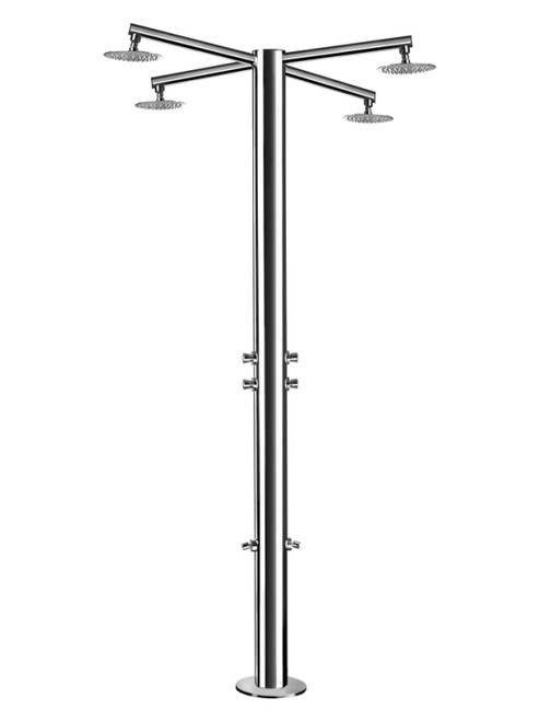 AMA Nettuno 1500 freestanding 316 marine grade stainless steel outdoor shower with 6 self-closing push valves (cold water only), 2 foot wash, and 4 rain shower heads