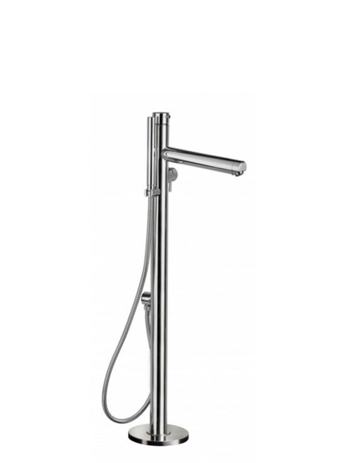 AMA Venere 0017 freestanding 316 marine grade stainless steel outdoor bath filler with two-way pressure balance valve and hand shower