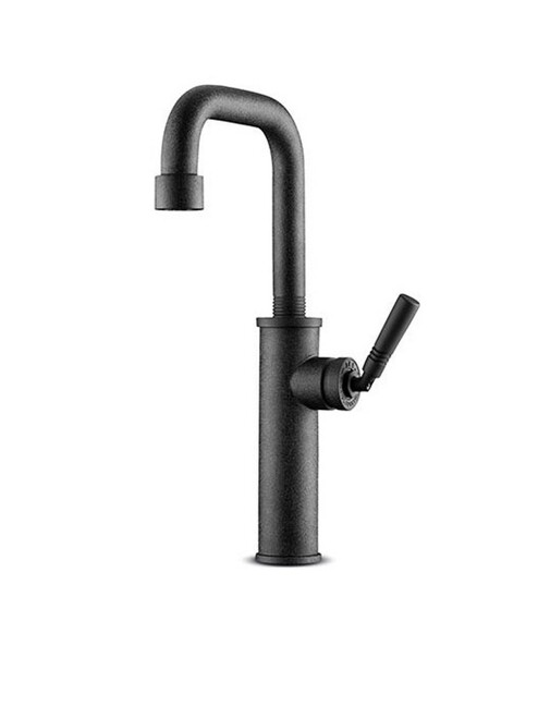 JEE-O soho basin / kitchen mixer top mounted single-hole faucet with pressure balance valve in hammercoat black stainless steel