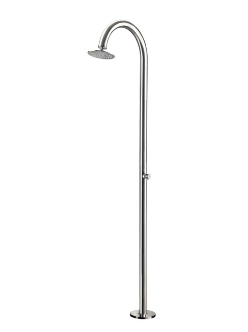 AMA Cometa 4850 freestanding 316 marine grade stainless steel outdoor shower with pressure balance valve and rain shower head