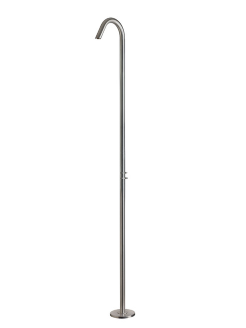 AMA Atlas 3850 freestanding 316 marine grade stainless steel outdoor shower with pressure balance valve and volume control