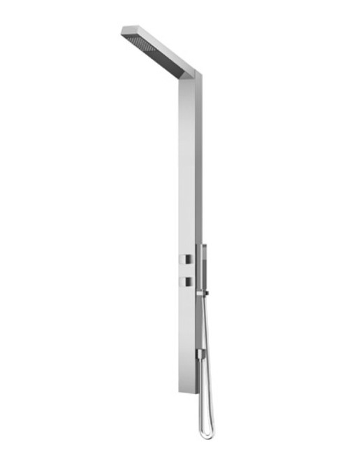 AMA Saturno 5600 wall mount 316 marine grade stainless steel outdoor shower with single lever mixing valve, diverter, and hand shower