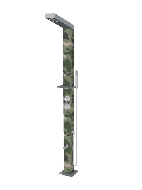 Camo freestanding stainless steel outdoor shower with single lever mixer, diverter, hand shower, foot wash, and built-in shelf