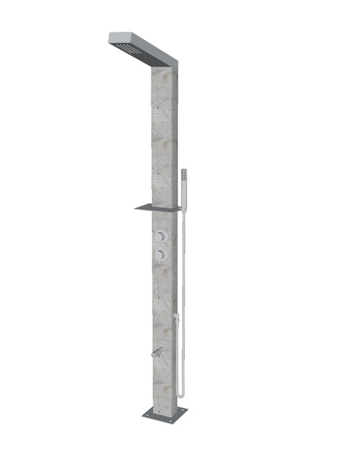 Concrete freestanding stainless steel outdoor shower with single lever mixer, diverter, hand shower, foot wash, and built-in shelf