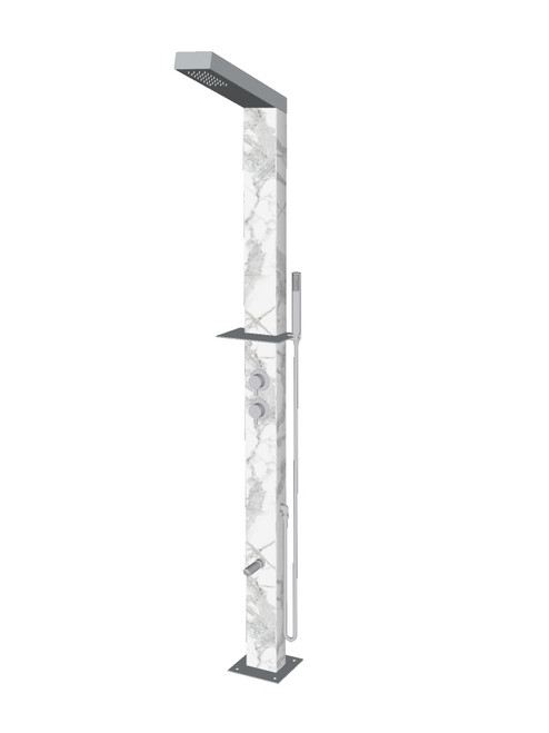 Marble freestanding stainless steel outdoor shower with single lever mixer, diverter, hand shower, foot wash, and built-in shelf