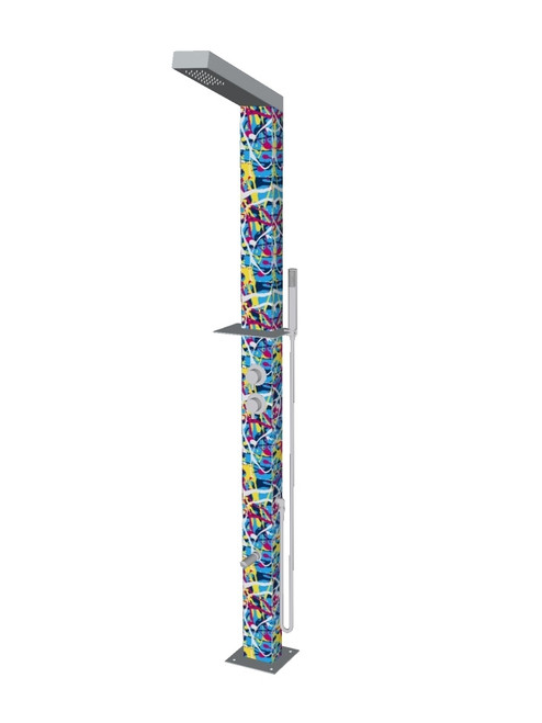 Paint Splatter freestanding stainless steel outdoor shower with single lever mixer, diverter, hand shower, foot wash, and built-in shelf