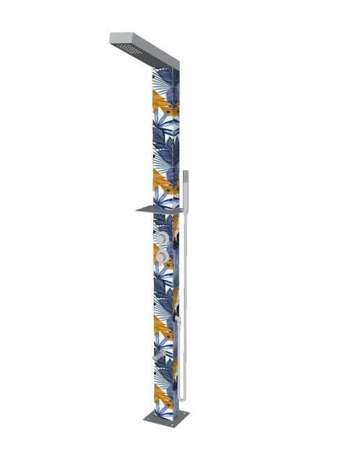 Tropical freestanding stainless steel outdoor shower with single lever mixer, diverter, hand shower, foot wash, and built-in shelf