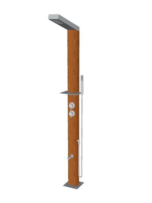 Wood freestanding stainless steel outdoor shower with single lever mixer, diverter, hand shower, foot wash, and built-in shelf