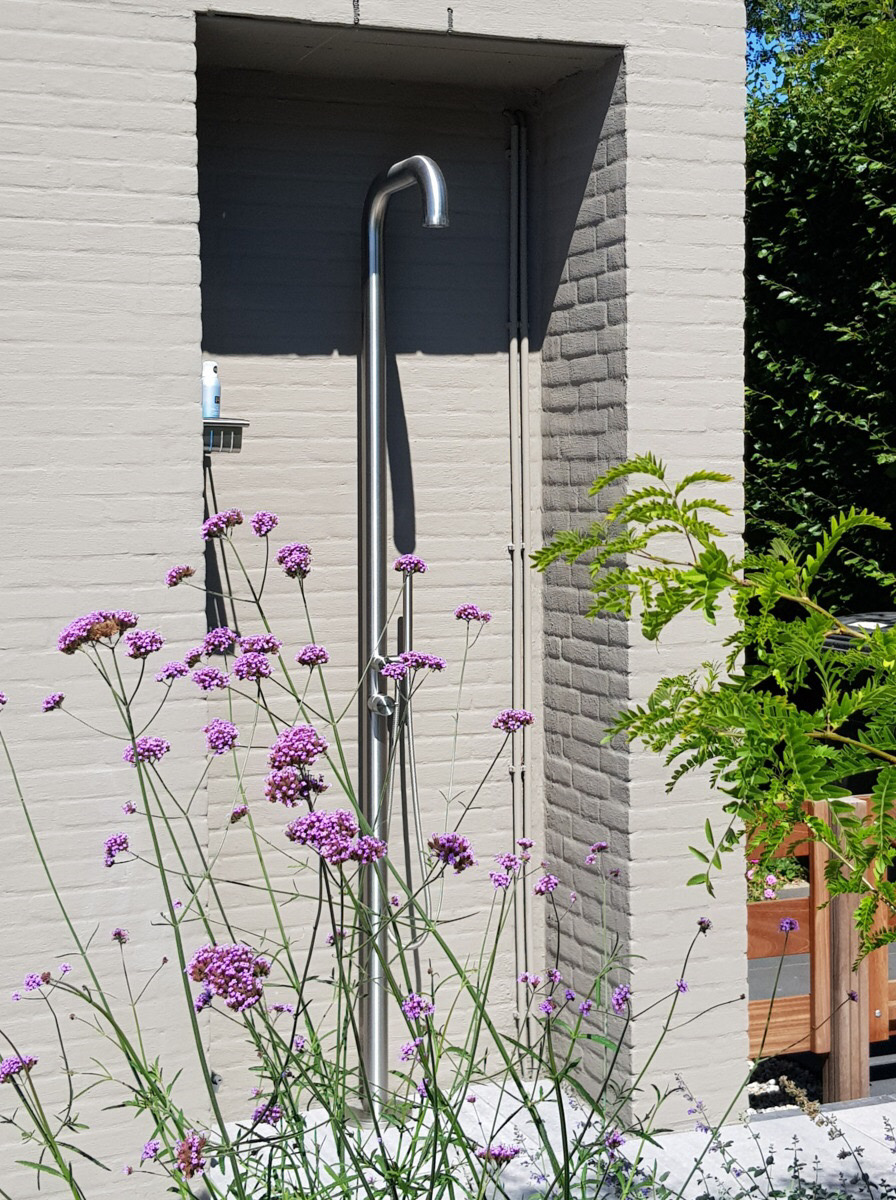 ASTRA freestanding outdoor shower with pressure balance valve, diverter, and hand shower made of 316 marine grade stainless steel