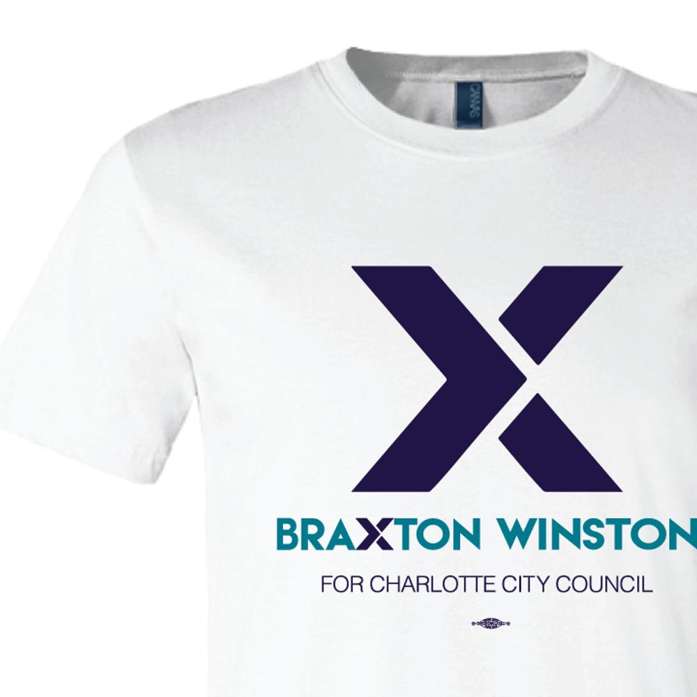"""""""X"""" Braxton Winston Logo (on White Tee)"""