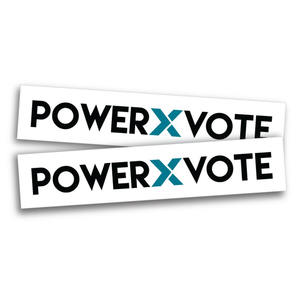 "Power X Vote  (10"" x 2"" Vinyl Sticker -- Pack of Two!)"