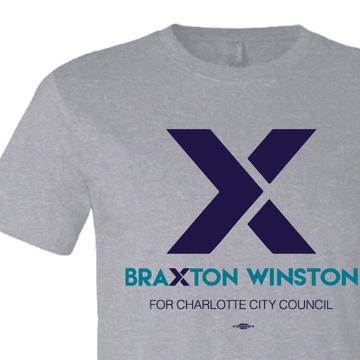 """""""X"""" Braxton Winston Logo (on Athletic Heather Tee)"""
