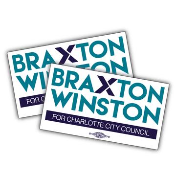 "Braxton Winston Full Logo (7"" x 4"" Vinyl Sticker -- Pack of Two!)"