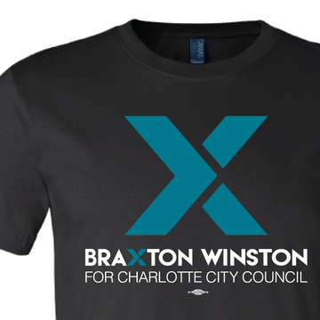 """X"" Braxton Winston Logo (on Black Tee)"