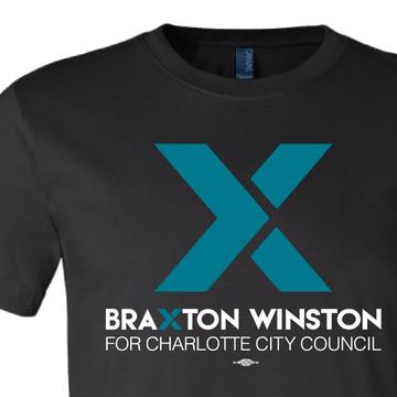 """X"" Braxton Winston Logo (on Black Tee)"