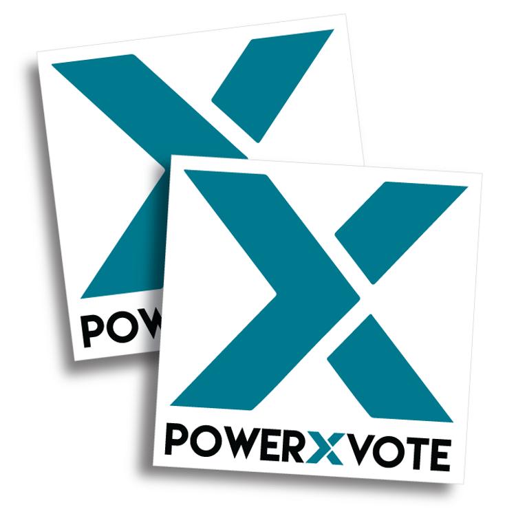 """""""Big X""""  Power X Vote  (4"""" x 4"""" Vinyl Sticker -- Pack of Two!)"""