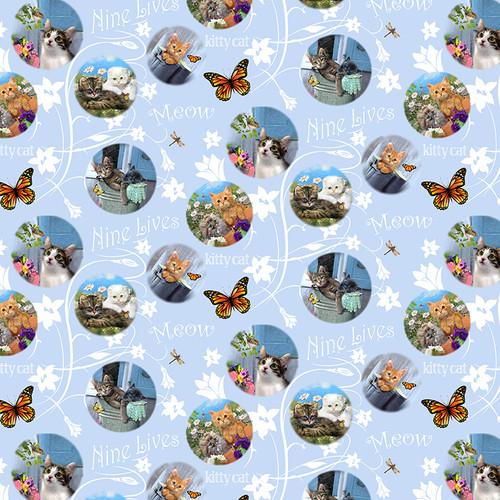 9993-11 Blue    Kittens in the Garden