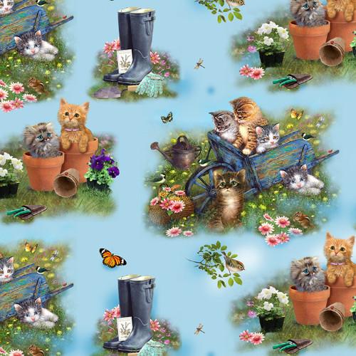 9996-11 Blue    Kittens in the Garden