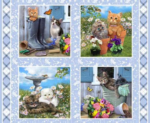 9998P-11 Blue    Kittens in the Garden
