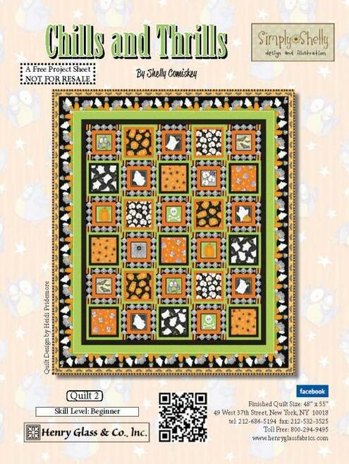 """Chills and Thrills Quilt #2"" a Free Halloween Quilt Pattern designed by Shelly Comiskey from Henry Glass Fabrics"
