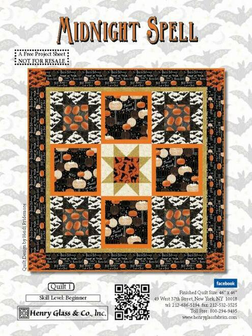"""""""Midnight Spell Quilt #1"""" a Free Halloween Quilt Pattern designed by Heidi Pridemore from Henry Glass Fabrics"""
