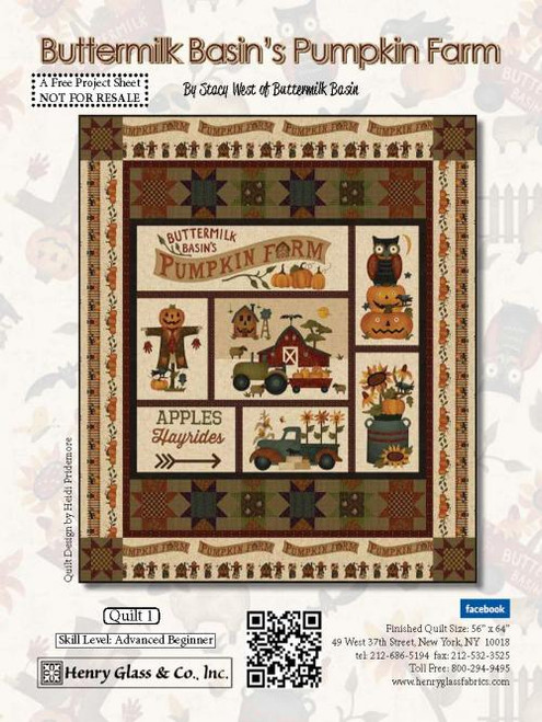 """Pumpkin Farm Quilt #1"" a Free Halloween Quilt Pattern designed by Stacy West of Buttermilk Basin from Henry Glass Fabrics"
